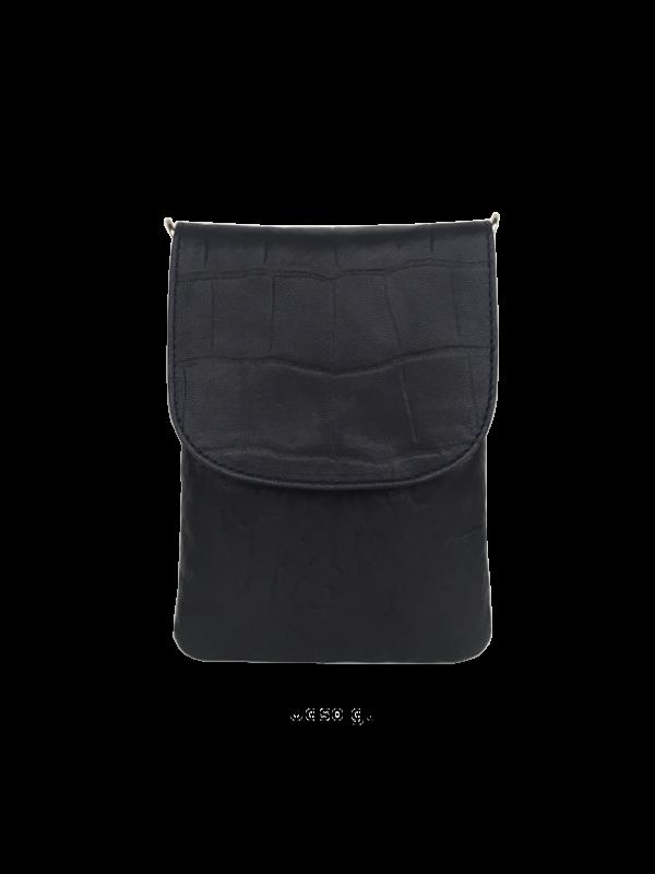 Smuk crossover mobiltaske i sort lammeskind - Skuldertaske - Skagen - Unikke tasker fra Cosystyle