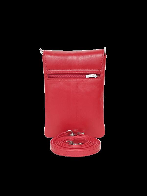 Lækker rød mobiltaske i lammeskind - Crossover taske til hverdag og fest - unika taske fra Cosystyle