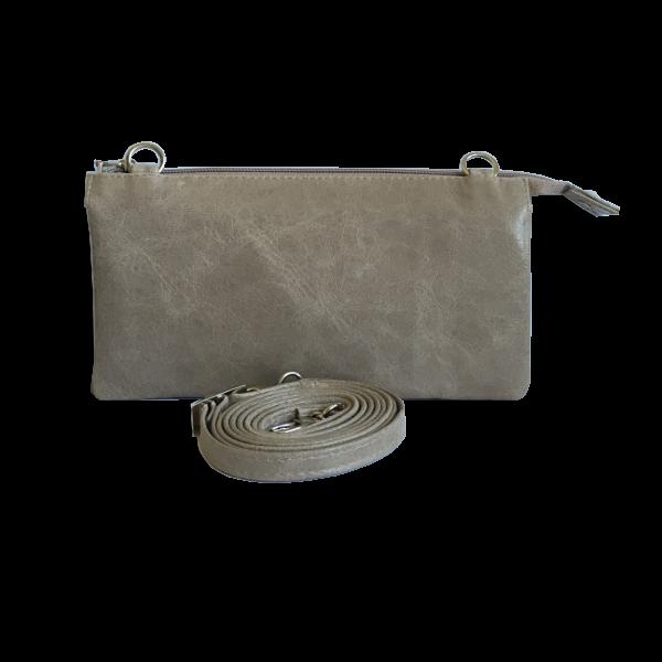 Klassisk flot grå crossocer taske i skind - skuldertaske - Cosystyle