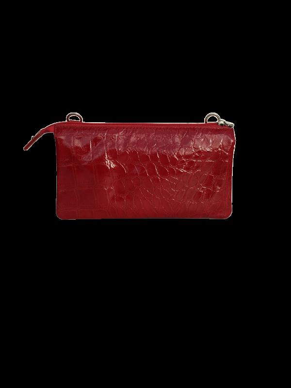 Trendy rød crossover taske i lammeskind - skuldertaske - Cosystyle