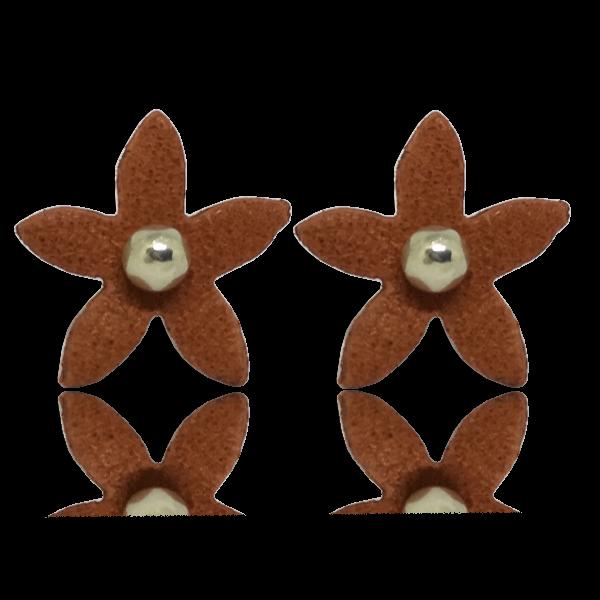 Cosystyle Øreringe Læderblomst med sølvkugle