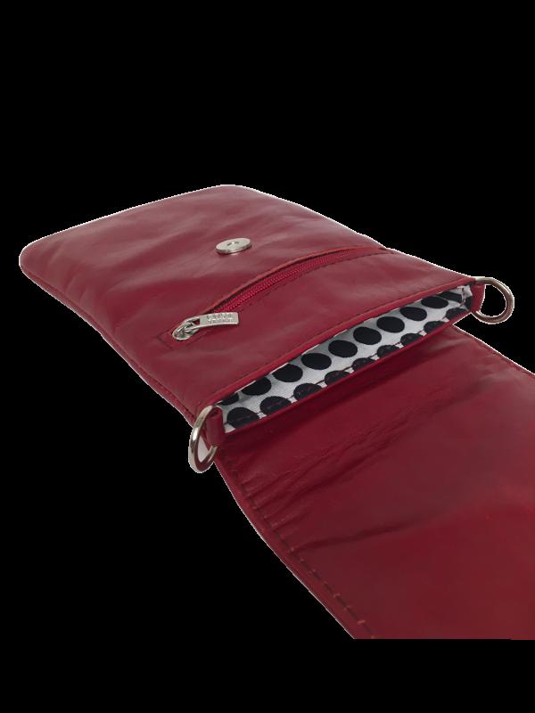 Flot mobiltaske i rødt skind - Skindtaske fra Cosystyle