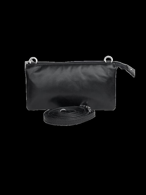 Klassisk sort clutch i lammeskin