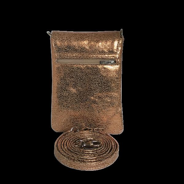 Funktionel mobiltaske i guldfarvet ammeskind - Unikke tasker fra Cosystyle