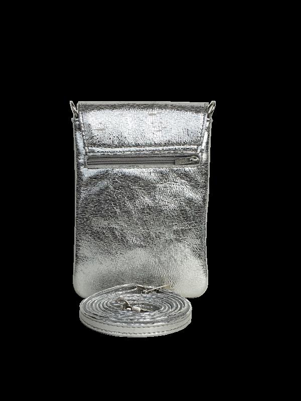 Flot sølv mobiltaske i lammeskind - Unikke tasker fra Cosystyle