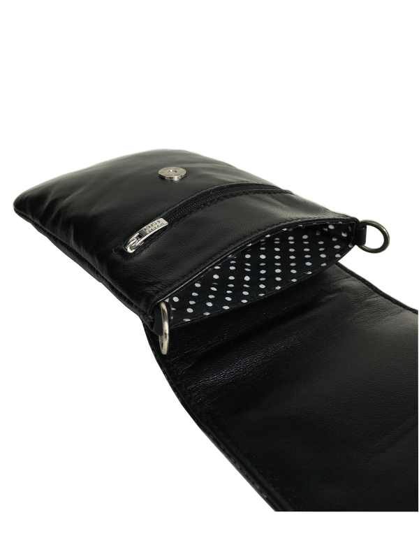 Mobiltaske i sort lammeskind - Crossover taske - Unika tasker fra Cosystyle