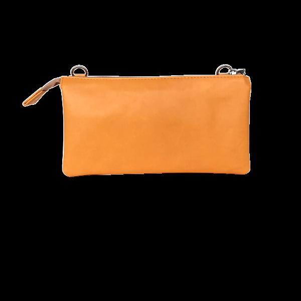 Orange crossover clutch i blødt lammeskind - Skindtaske til hverdag og fest - Unika tasker fra Cosystyle