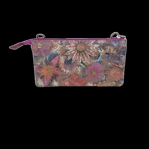 Lækker crossover clutch i lammeskind - Skindtaske med flot blomstermotiv - Unika taske fra Cosystyle
