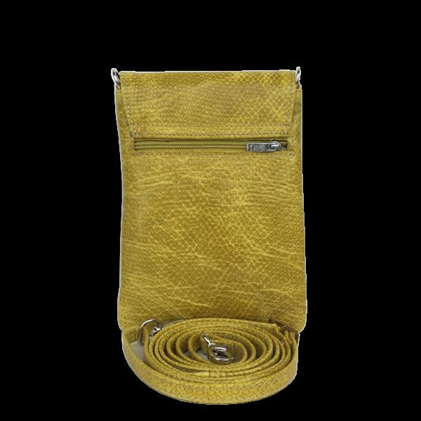 Mobiltaske i kalveskind - Sennepsgul crossover skindtaske - Unika taske fra Cosystyle