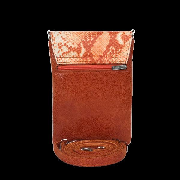 Orange skind´taske i lammeskind - Mobiltaske med plads til mere end bare din mobil - Unika taske fra Cosystyle