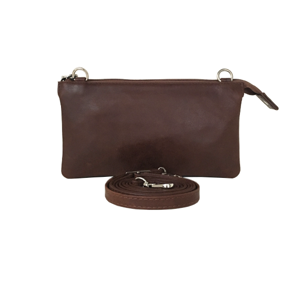 Flot rustik brun clutch i kalveskind - Unika taske fra Cosystyle