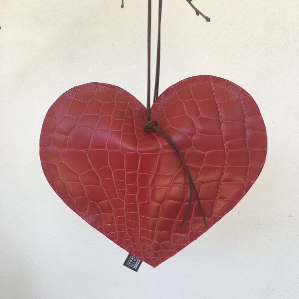Stort Læder Hjerte til dekoration