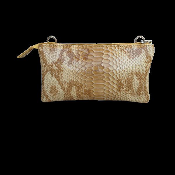 Crossover clutch i gule og brune nuancer i lammeskind - Unika taske fra Cosystyle