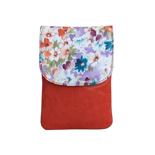 Mobiltaske i koralrød med blomster - Skindtaske - Unika taske fra Cosystyle