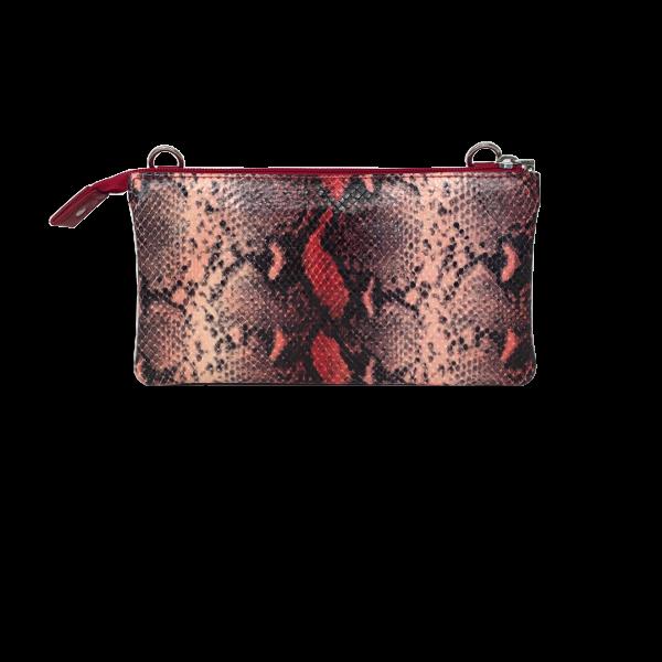 Crossover Clutch i røde nuancer - Blød skindtaske i lammeskind - Unika taske fra Cosystyle