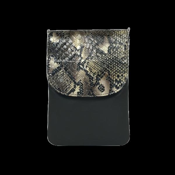 Flot og lækker crossover mobiltaske i slangepræget lammeskind - Unika taske fra Cosystyle