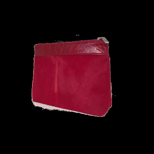 Lækker rød makeup skindtaske i korthåret pels - Unika skindtaske fra Cosystyle