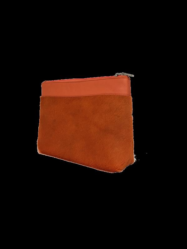 Super fed orange makeup taske i skind - Unika taske fra Cosystyle