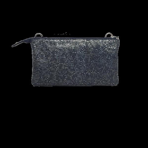 Clutch i sølv/blå nuancer - Unika skindtaske fra Cosystyle