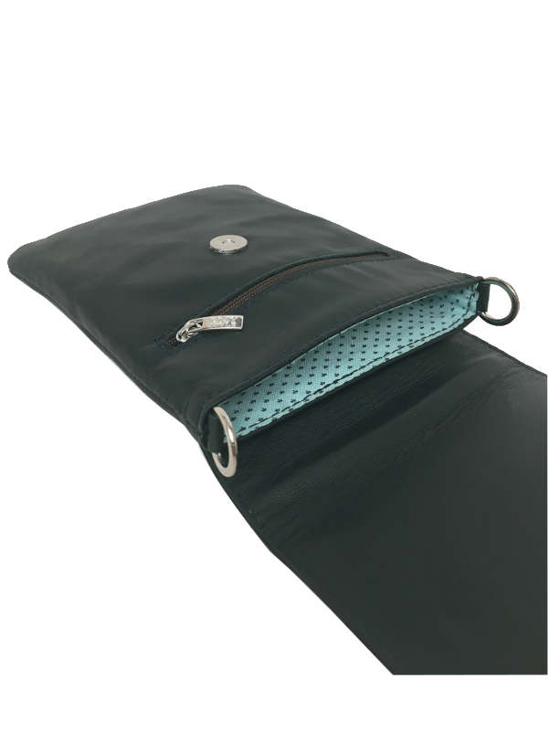 Skindtaske i dyb grøn - Crossover mobiltaske- Unika taske fra Cosystyle