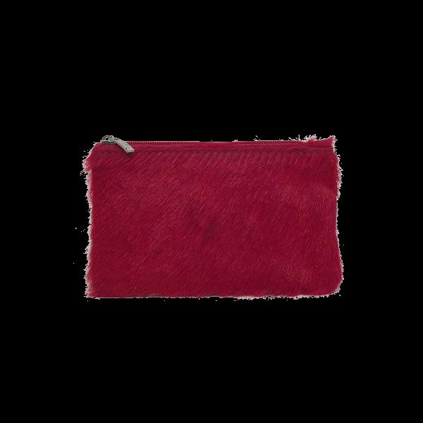 Lille rød pung i lammeskind med pels - Unika taske fra Cosystyle