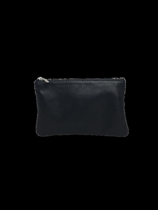 Klassisk sort lille pung i lammeskind - Skind fra Cosystyle