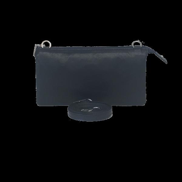 Mørkeblå crossover clutch i smukt lammeskind - Unika skindtaske fra Cosystyle