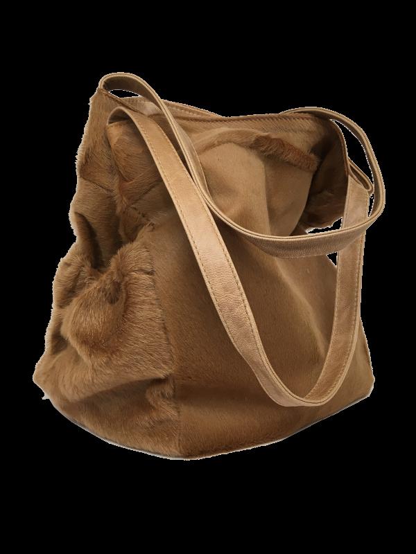 Smuk skuldertaske i brune nuancer - Unika skindtaske fra Cosystyle