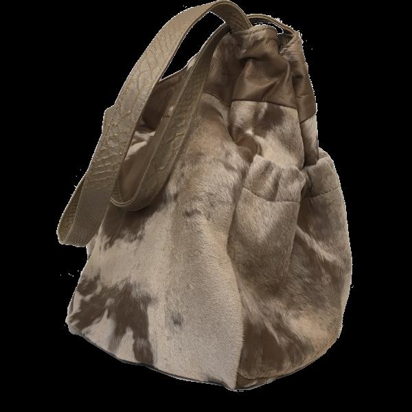 Smart skuldertaske i beigebrune nuancer - Unika tasker fra Cosystyle