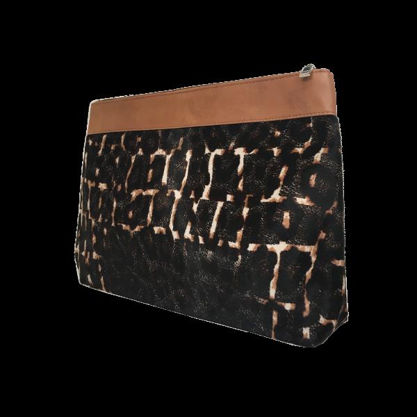 Smuk toilettaske i skind med korthåret pels - Unika skindtaske fra Cosystyle