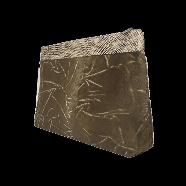 Flot toilettaske i lækkert blødt gedeskind med pels - Unika skindtaske fra Cosystyle