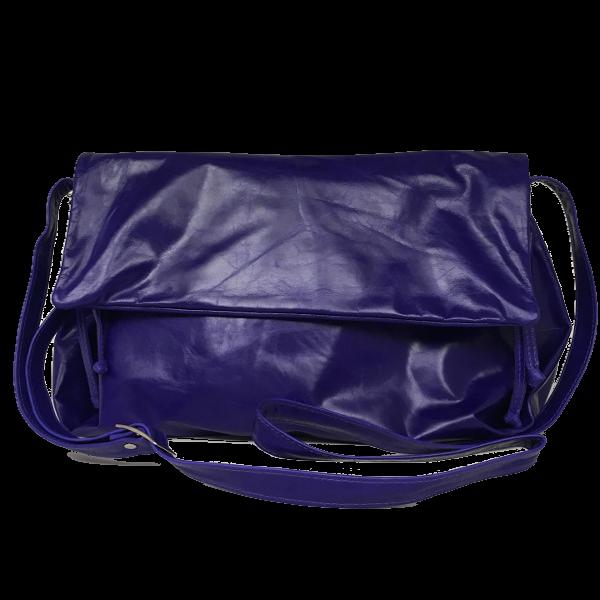 Lækker kalveskinds crossover taske i blå nuance - Unika skindtaske fra Cosystyle