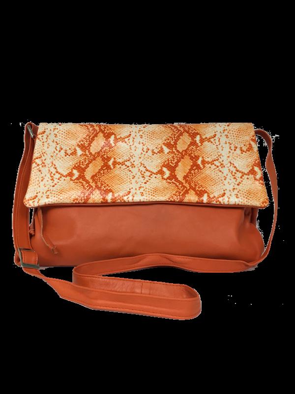 Lækker crossover skindtaske i orange nuancer - Unika skindtaske fra Cosystyle