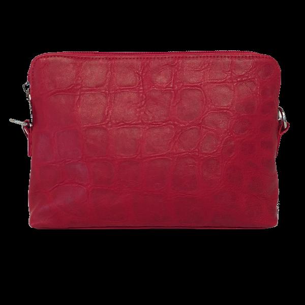 Elegant crossover skindtaske i røde nuancer - Unika skindtaske fra Cosystyle