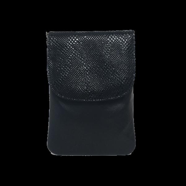 Lækker sort crossover mobiltaske til hverdag og fest - Unika skindtaske fra Cosystyle