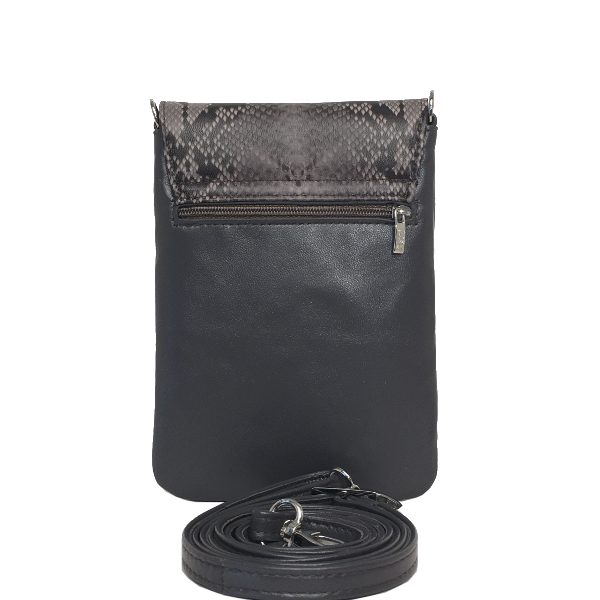 Grå crossover mobiltaske med slangeskindslook - Unika skindtaske fra Cosystyle