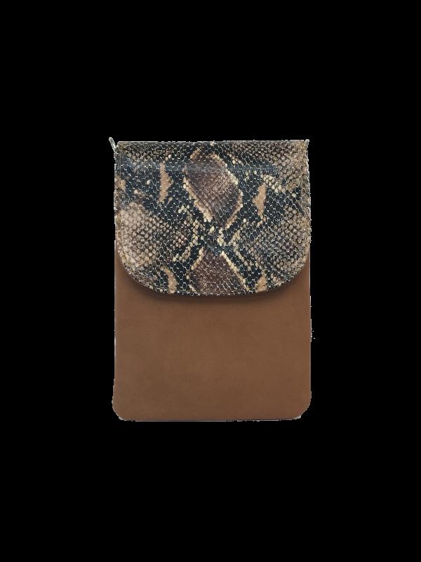 Slangeskinds præget mobiltaske i brune nuancer - Unika skindtaske fra Cosystyle