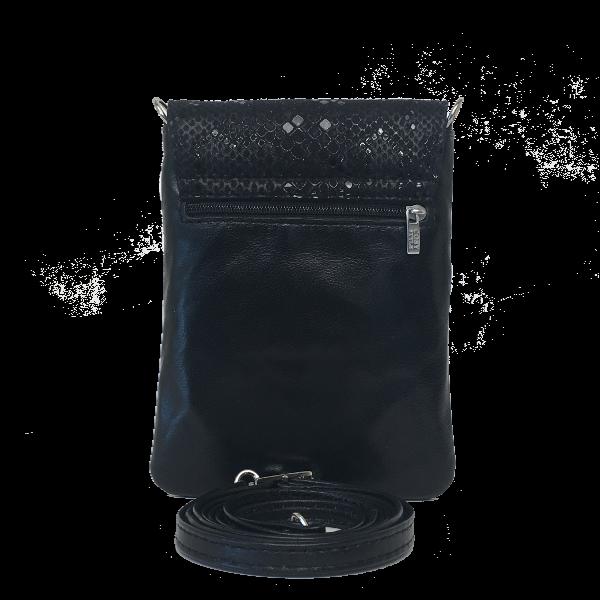 Smart sort mobiltaske med rødt fór - Unika skindtaske fra Cosystyle
