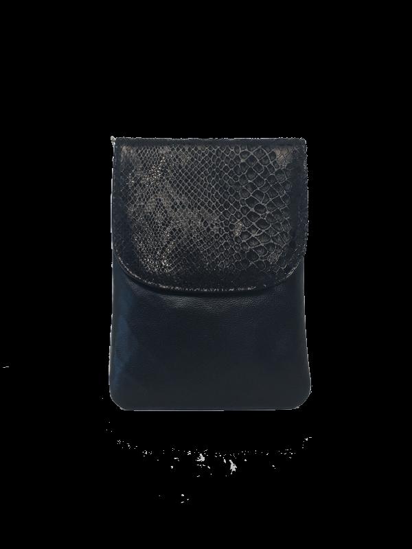 Elegant sort crossover mobiltaske - Unika skindtaske fra Cosystyle