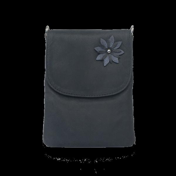 Mobiltaske i farven antrasit med blomst - Unika skindtaske fra Cosystyle