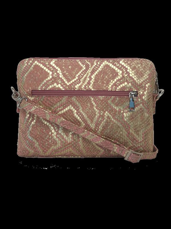 Flot crossover skindtake i præget kalveskind i pink og guld nuancer- Unika skindtaske fra Cosystyle